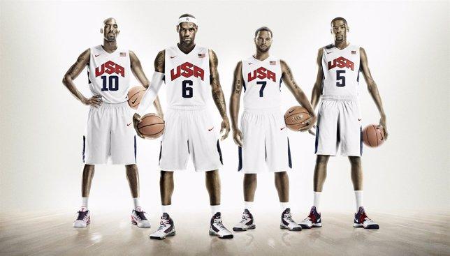 Kobe Bryant, Lebron James, Durant Con La Camiseta De Estados Unidos (Dream Team)