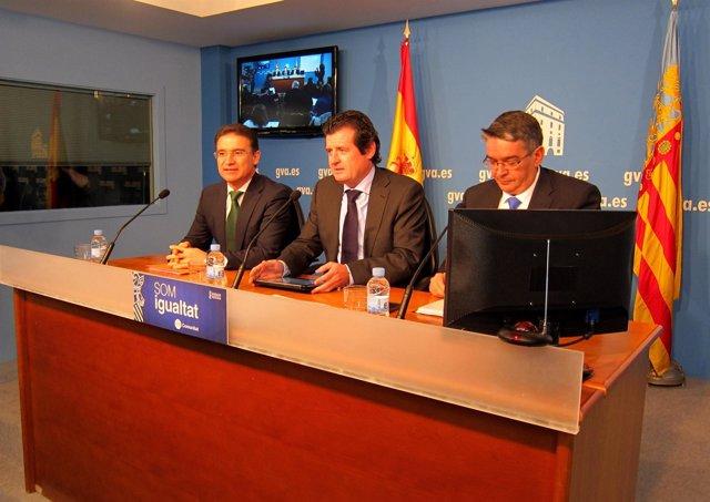 Castellano, Císcar Y Vela En La Rueda De Prensa Posterior Al Pleno