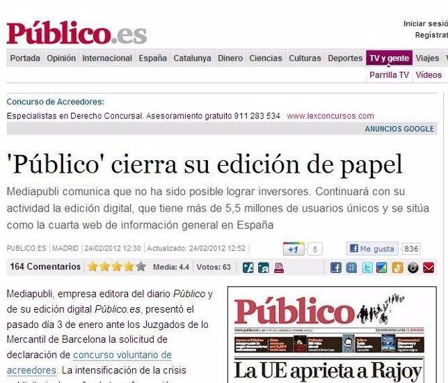 Cierra El Diario 'Público'