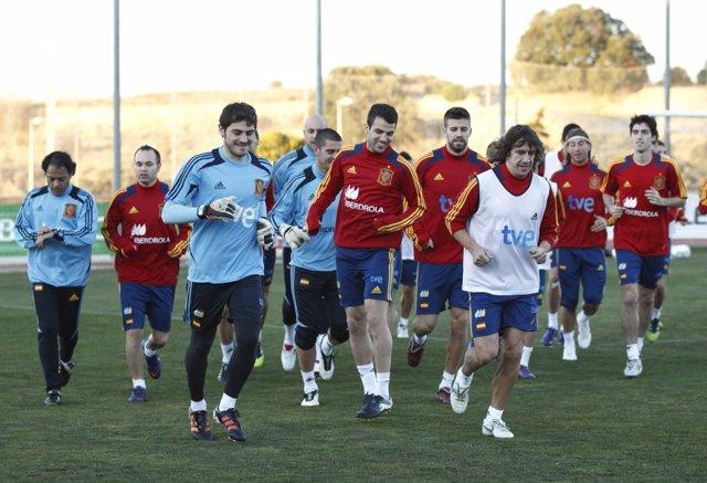 Puyol, Casillas, Cesc, Piqué En El Entrenamiento De La Selección Española