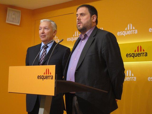 Oriol Junqueras, Presidente De ERC,  Y Presidente De La CECOT, Antoni Abad