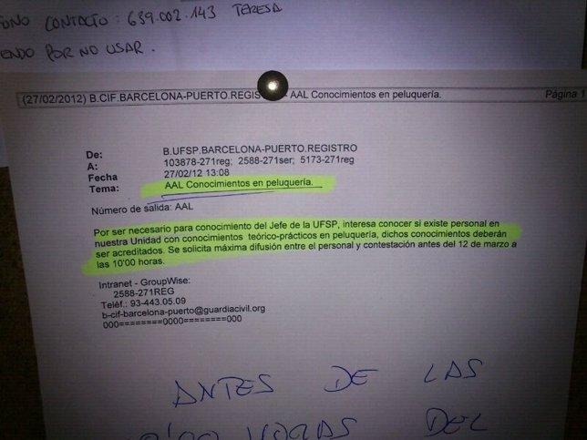 Circular De La Guardia Civil Que Pide Un Agente Con Conocimientos En Peluquería