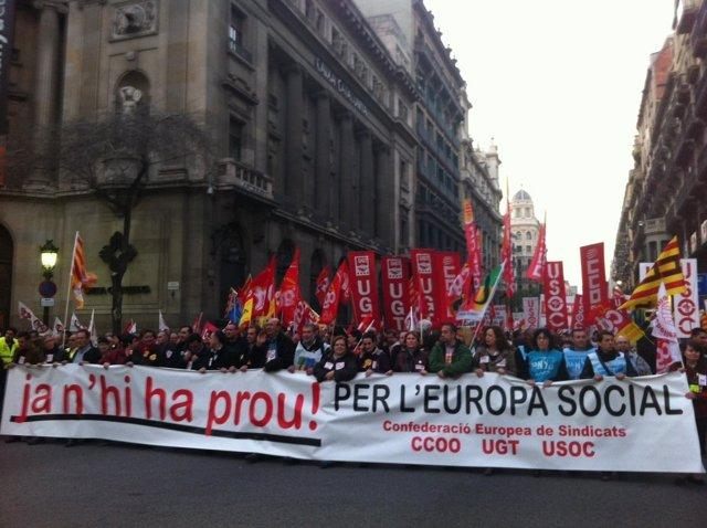Protesta En Barcelona Contra La Reforma Laboral