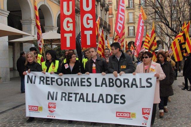 Protesta Contra Reforma Laboral En Girona