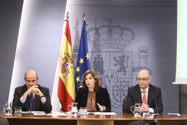 Luis De Guindos, Soraya Sáenz De Santamaría Y Cristóbal Montoro
