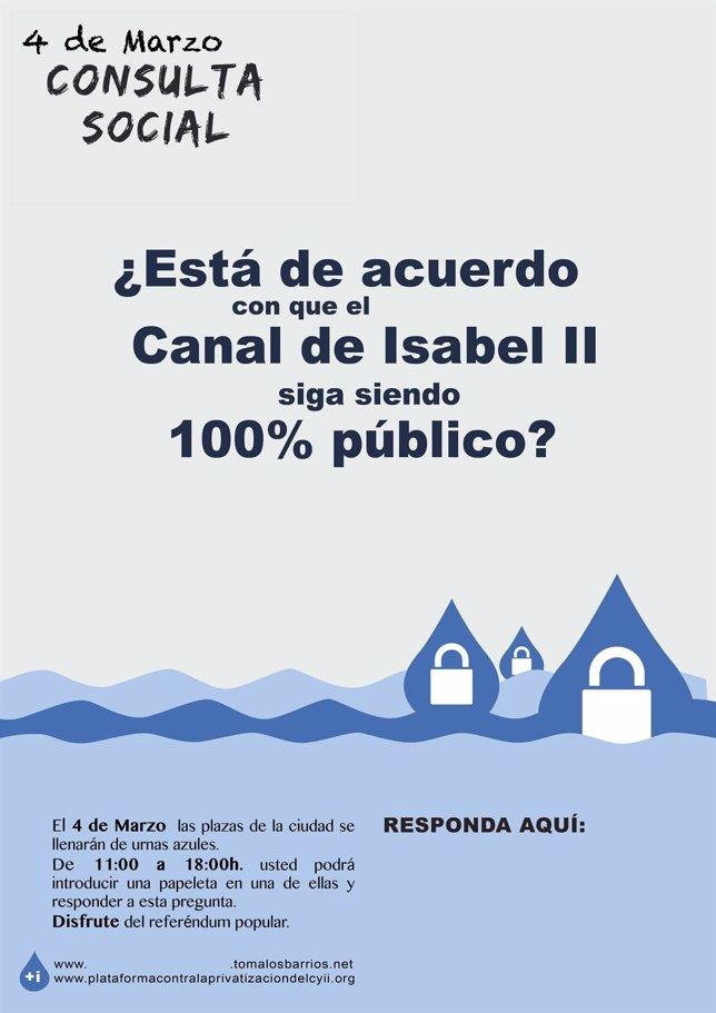 Cartel De La Consulta Social Sobre La Privatización Del Canal De Isabel II