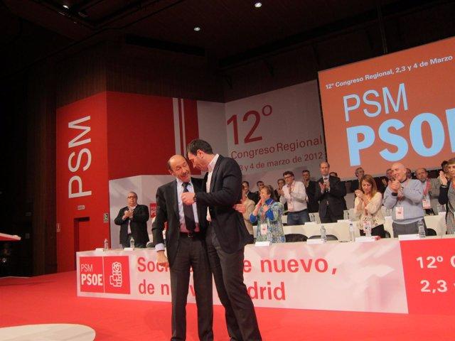 Rubalcaba Y Tomás Gómez En El 12º Congreso Del PSM