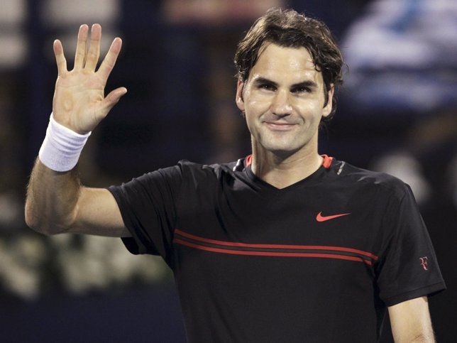 El Tenista Roger Federer Celebra Su Pase A La Final De Dubai