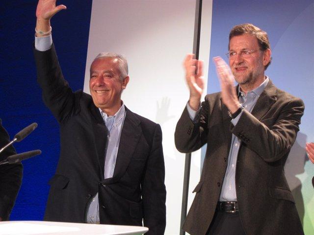 Javier Arenas Y Mariano Rajoy En Un Acto De Partido En Lucena (Córdoba)