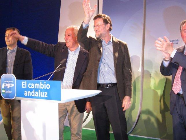 Javier Arenas Y Mariano Rajoy, En Un Acto De Partido En Lucena (Córdoba)