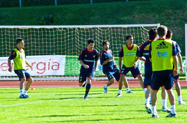 Selección Española De Fútbol Entrenando