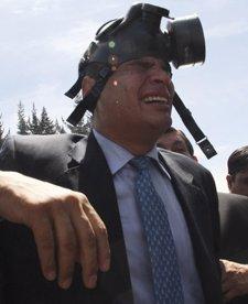 El presidente Rafael Correa, tras los disturbios con la policía