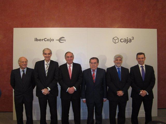 Presidentes De Ibercaja Y Las Entidades Que Conforman Caja3 En Zaragoza