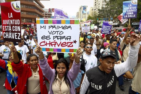 Partidarios Del Presidente De Venezuela, Hugo Chávez, Toman Las Calles