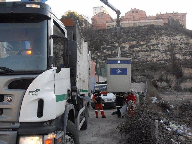 Limpieza viaria, recogida de basuras en Teruel
