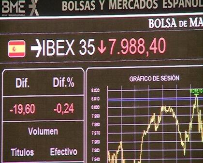 Economía/Bolsa.- El Ibex retrocede un 2% y agudiza el mínimo anual a los 7.660 enteros, con la prima en 390 puntos