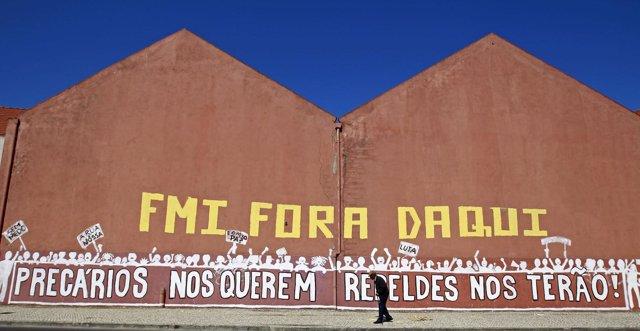 Mural Contra El Ajuste Estructural Del FMI En Portugal