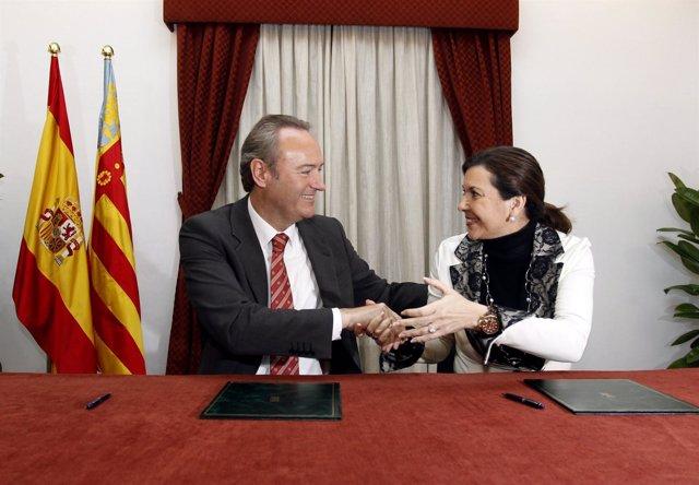 Fabra Y Alonso En La Firma Para La Cesión De La Calahorra