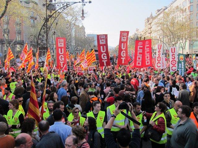 Manifestación En Barcelona Durante La Huelga General