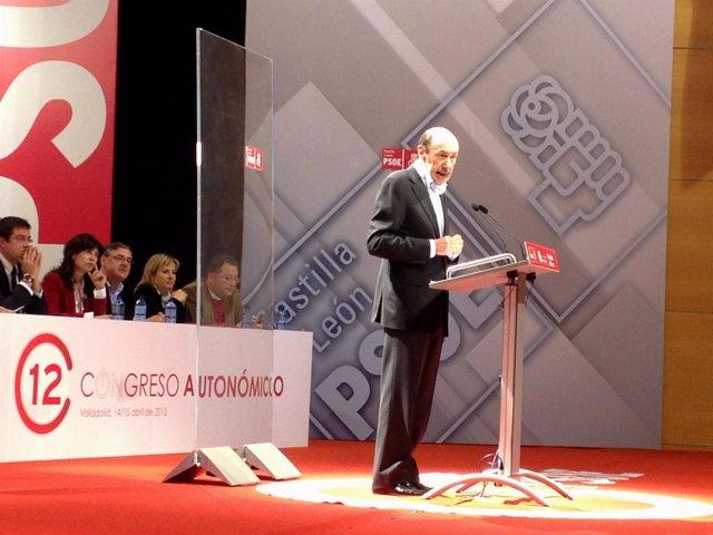 Rubalcaba Durante Su Intervención En El XII Congreso Autonómico Del PSOE