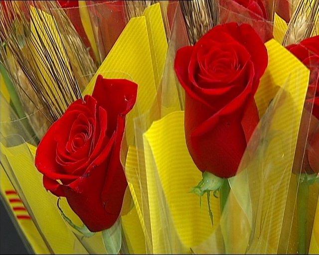 Rosas De Sant Jordi En El Mercado De La Flor