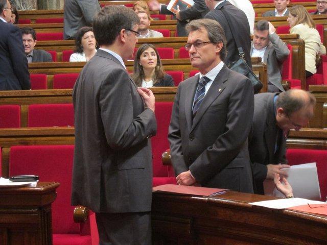El Conseller Lluís Recoder Y El Presidente Artur Mas