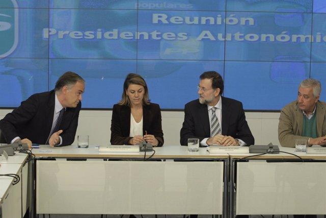 Reunión Barones PP. Rajoy Cospedal Arenas Pons
