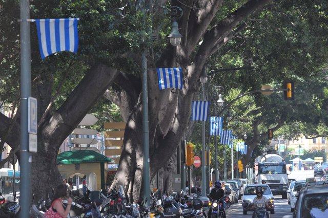 Málaga se engalana con banderas fútbol champions