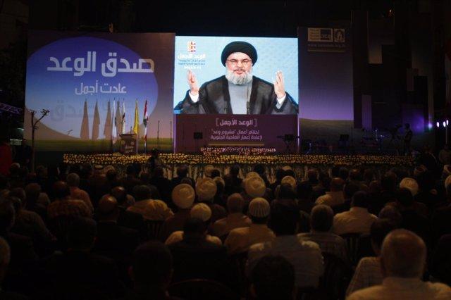 El Líder Del Grupo Chií Libanés Hezbolá, Sayyed Hassan Nasralá