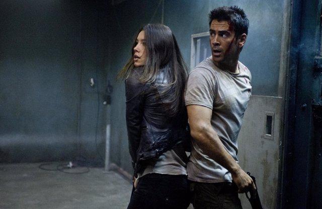 Colin Farrell y Kate Beckinsale en el remake de Desafío Total