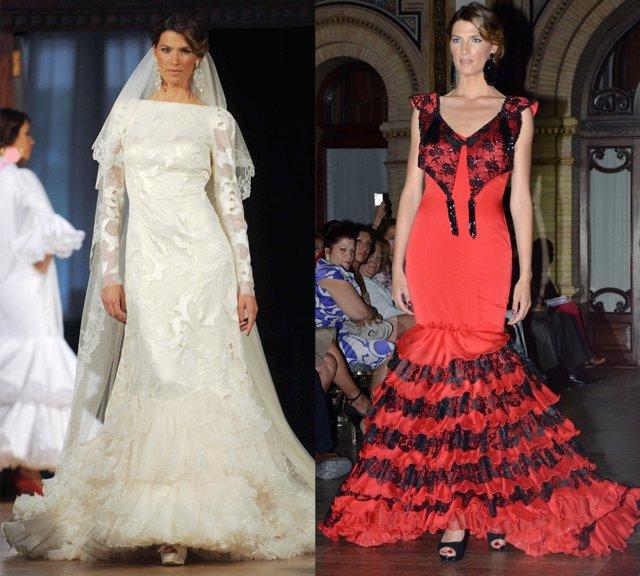 Montaje de Laura Sánchez vestida de flamenca para Lina Fernández