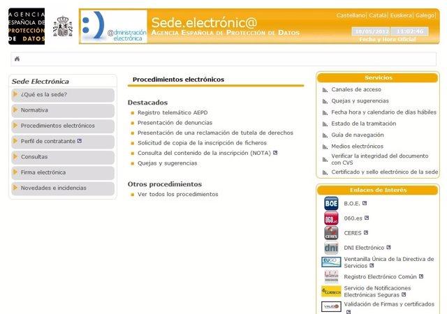 Sede Electrónica De La Agencia Española De Protección De Datos