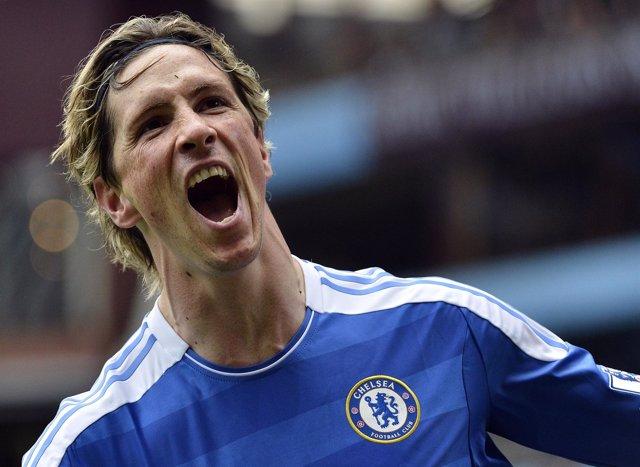 Fernando Torres Celebra El Cuarto Gol Del Chelsea Ante El Villa