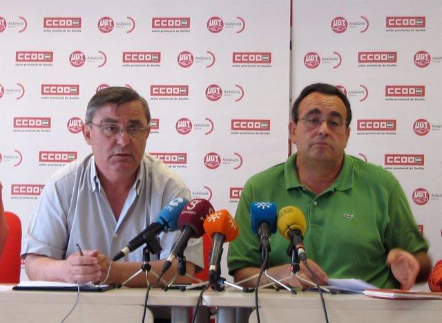 Alfonso Vidán (CCOO) Y Juan Antonio Gilabert (UGT) En Rueda De Prensa
