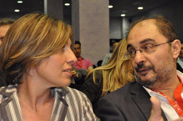 Javier Lambán Y Eva Sáez, Dirigentes Del PSOE-Aragón.