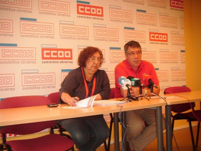 Representantes De CC.OO. En La Presentación De 'Un Día De Lucha' En Los Medios