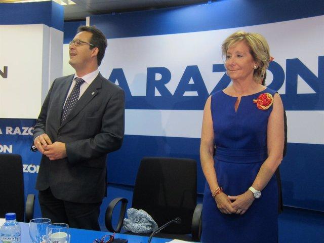 Jesús Gómez Y Esperanza Aguirre En Los Desayunos De La Razón