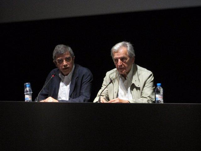 El Dtor De La Filmoteca De Catalunya Esteve Riambau Y El Cineasta Costa-Gavras