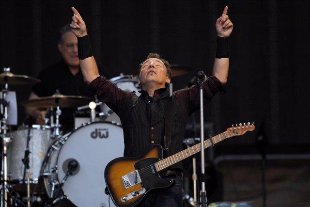 El artista estadounidense Bruce Springsteen en su concierto en Madrid