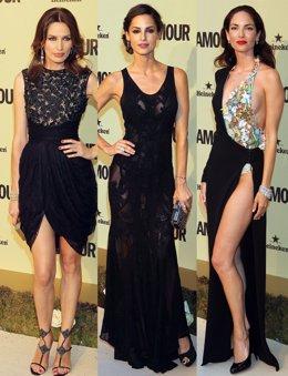 Montaje de Nieves Álvarez, Ariadna Artiles y Eugenia Silva en fiesta Glamour