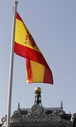 Recurso De La Bandera De España En El Banco De España