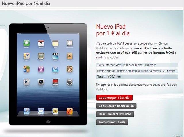 Tarifa Vodafone para tabletas