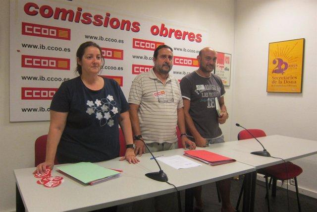 Aurora López (UGT), Manuel García (CCOO) Y  Guillem Vila (CSI·F)