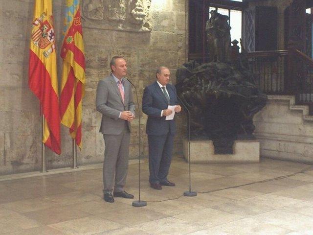 Fernández Díaz Y Fabra En Rueda De Prensa En El Palau