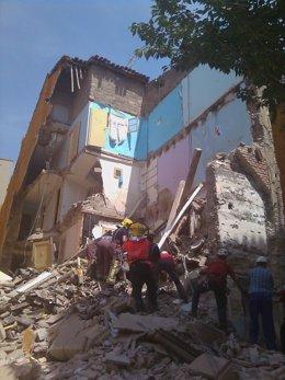 Edificio derrumbado en la calle Tallada de Lleida
