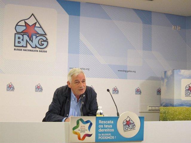 El portavoz nacional del BNG, Guillerme Vázquez, durante una rueda de prensa