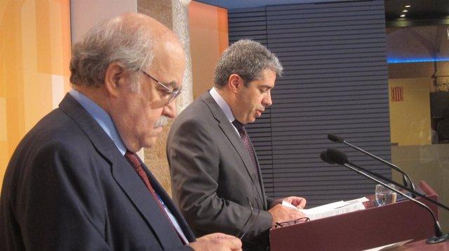 Andreu Mas-Colell Y Francesc Homs, En Rueda De Prensa Tras El Consell Executiu