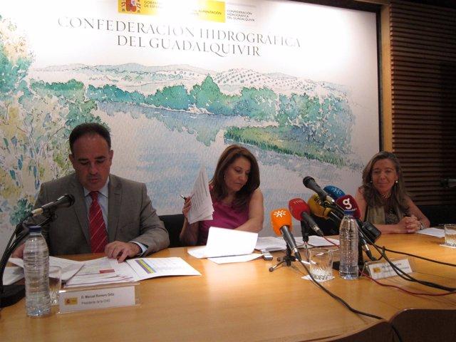 Manuel Romero, Carmen Crespo Y Felisa Panadero, En Rueda De Prensa