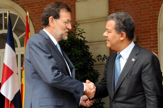 Mariano Rajoy con Leonel Fernández en Moncloa