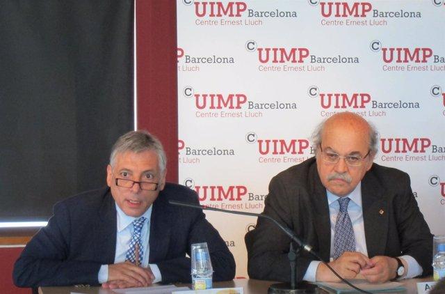 Manel Rosell (Fundación Catalunyacaixa) Y Andreu Mas-Colell